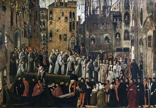 Accademia - Miracle of the Relic of the Holy Cross in Campo San Lio by Giovanni Mansueti